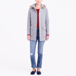 j crew factory vail parka heathered graphite